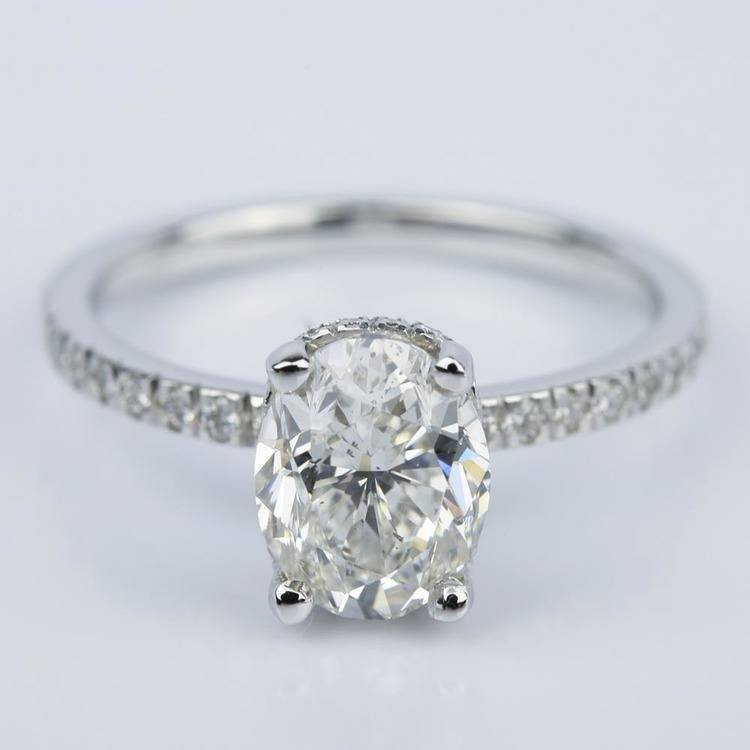 Custom Oval Engagement Ring in White Gold (2 ct.)
