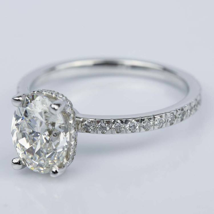 Custom Oval Engagement Ring in White Gold (2 ct.) angle 2