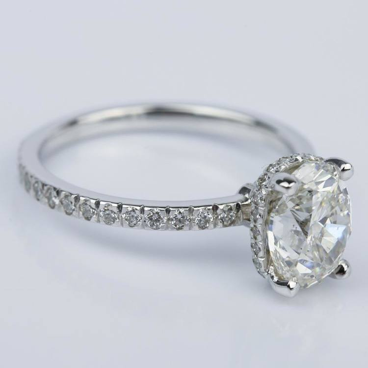 Custom Oval Engagement Ring in White Gold (2 ct.) angle 3