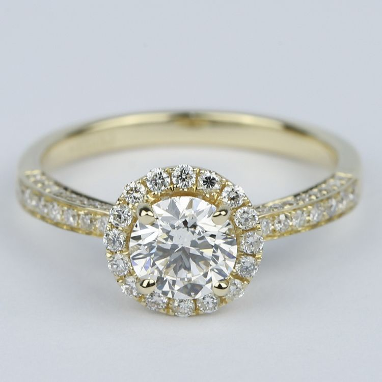 Custom Pave Diamond Halo Engagement Ring (0.90 ct.)