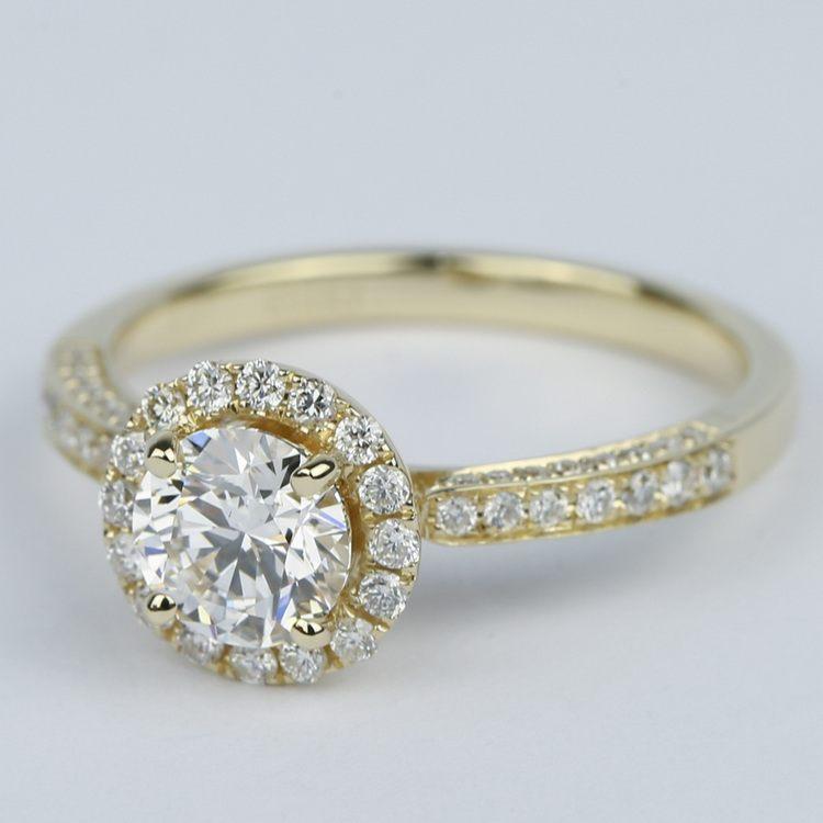 Custom Pave Diamond Halo Engagement Ring (0.90 ct.) angle 2