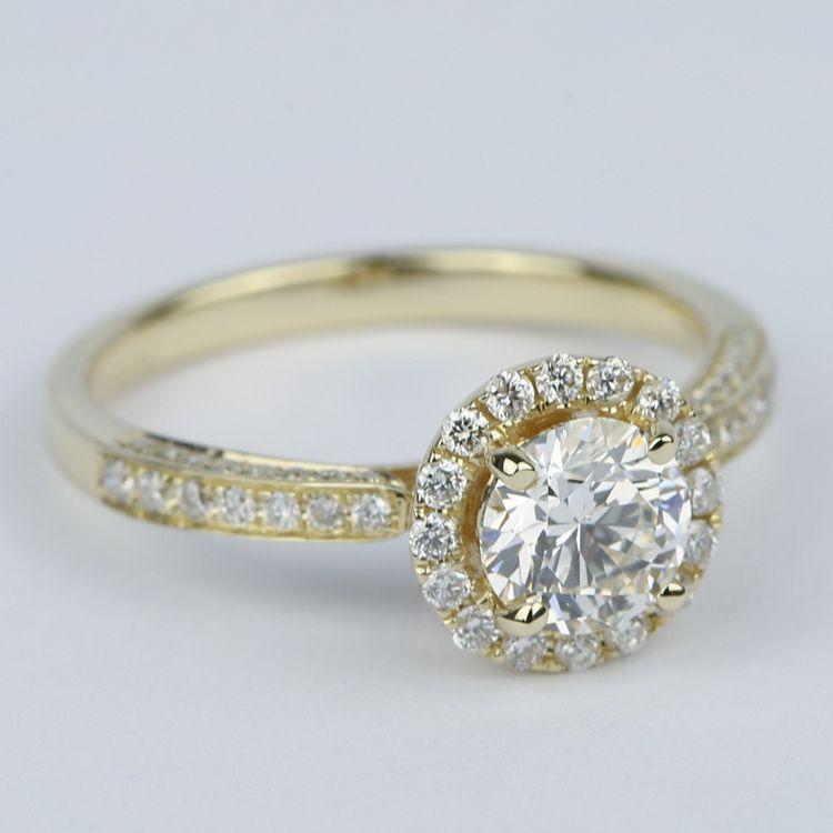 Custom Pave Diamond Halo Engagement Ring (0.90 ct.) angle 3