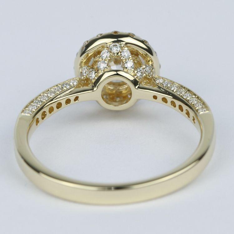 Custom Pave Diamond Halo Engagement Ring (0.90 ct.) angle 4