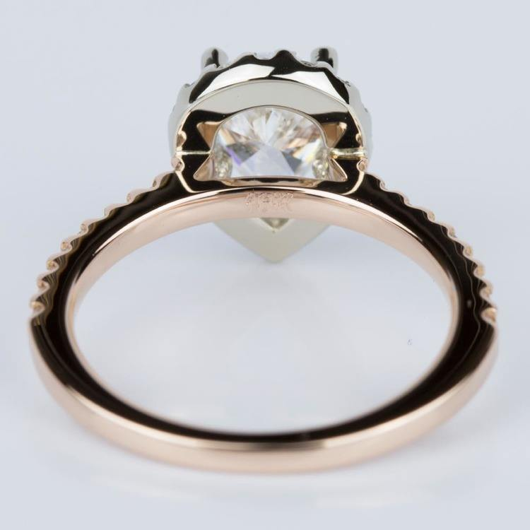 Custom Pear Halo Engagement Ring in Rose & White Gold (1.01 ct.) angle 4