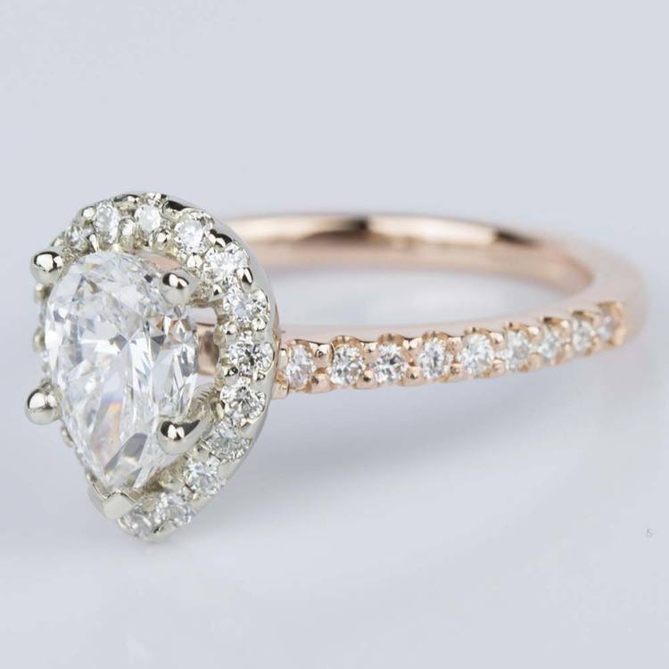 Custom Pear Halo Engagement Ring in Rose & White Gold (1.01 ct.) angle 2