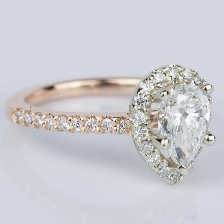 Custom Pear Halo Engagement Ring in Rose & White Gold (1.01 ct.) angle 3