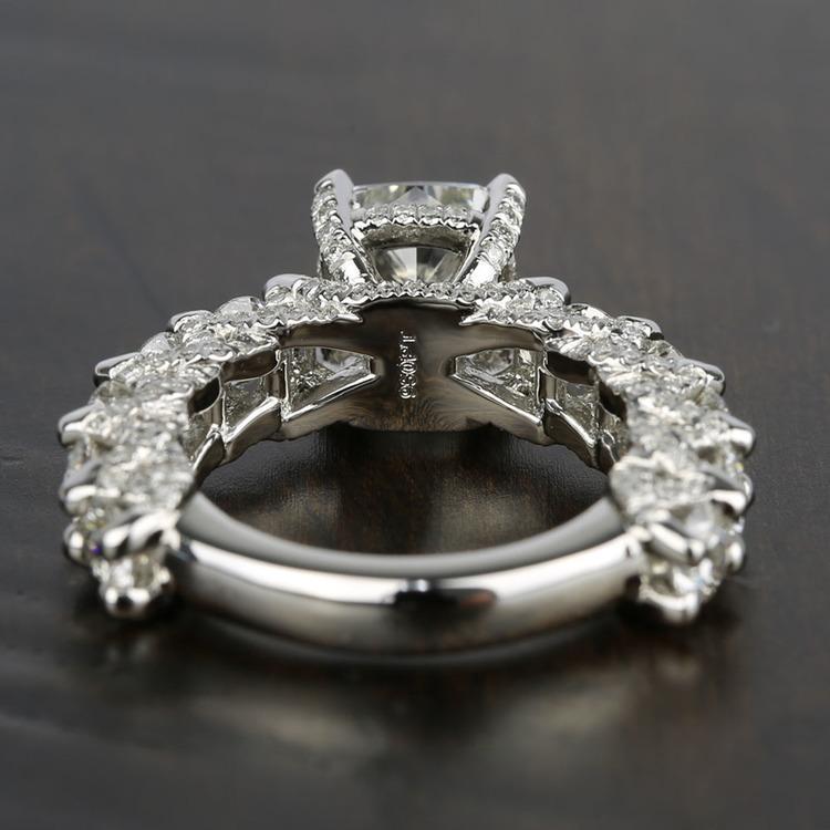 Custom Cushion & Round Diamond Engagement Ring (5 Carat) angle 4