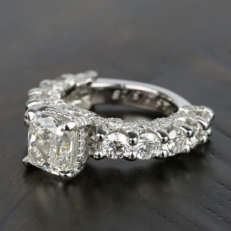 Custom Cushion & Round Diamond Engagement Ring (5 Carat) angle 2