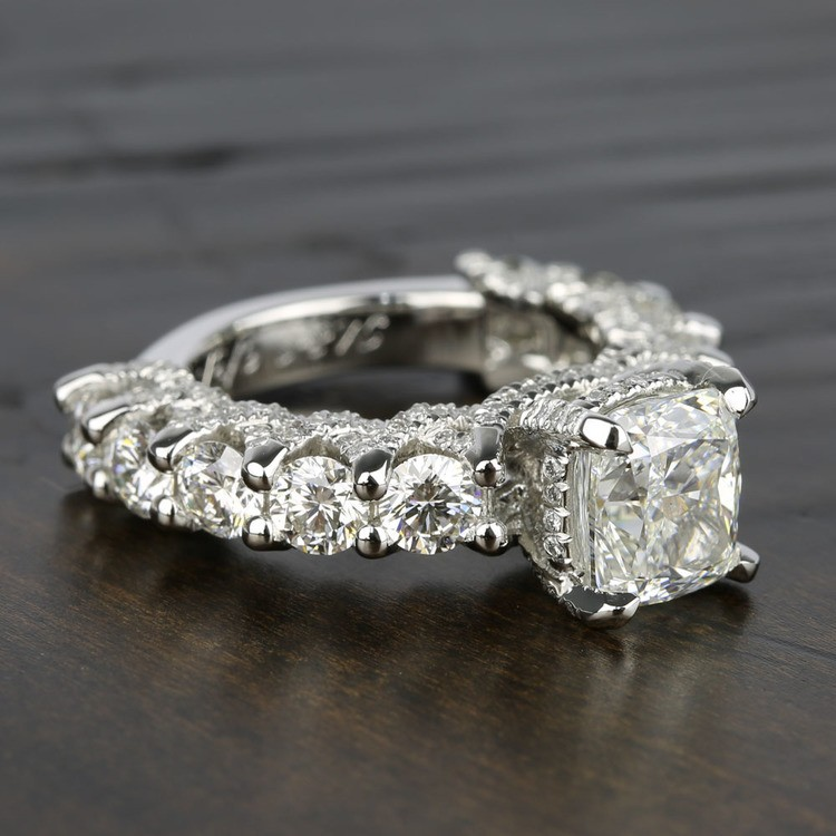 Custom Cushion & Round Diamond Engagement Ring (5 Carat) angle 3