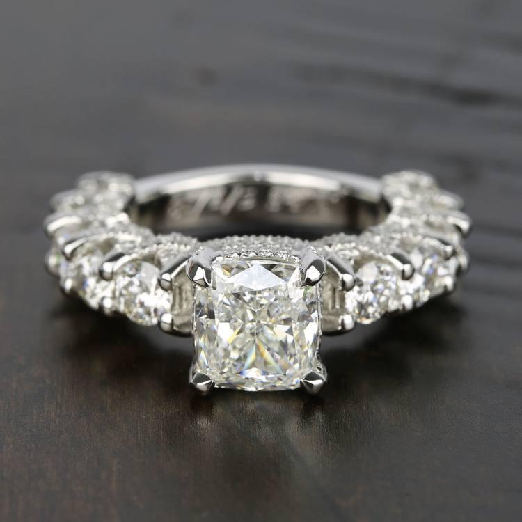 Custom Cushion & Round Diamond Engagement Ring (5 Carat)