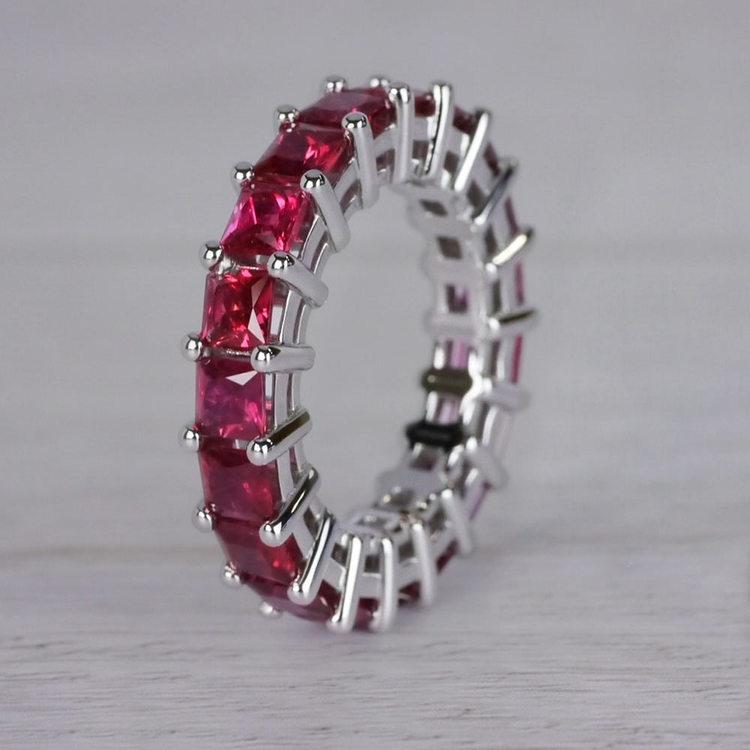 Custom Ravishing Ruby Eternity Band angle 2