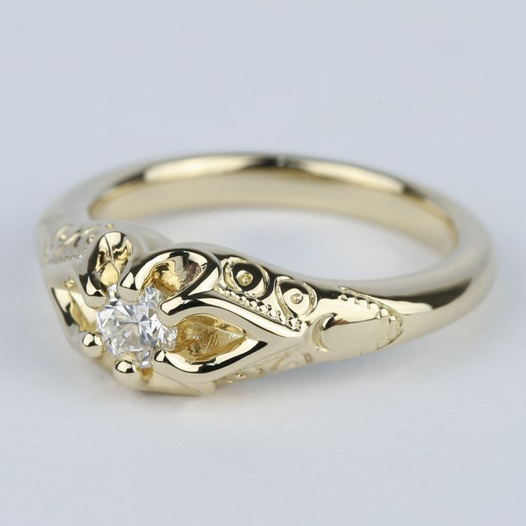 Custom Antique Diamond Engagement Ring in Yellow Gold (0.25 ct.) angle 2