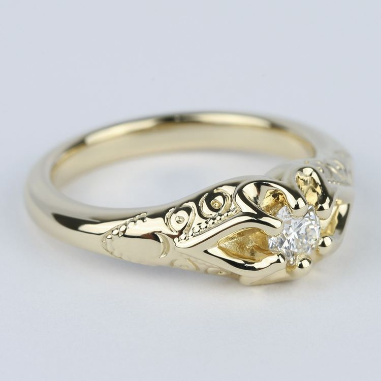 Custom Antique Diamond Engagement Ring in Yellow Gold (0.25 ct.) angle 3