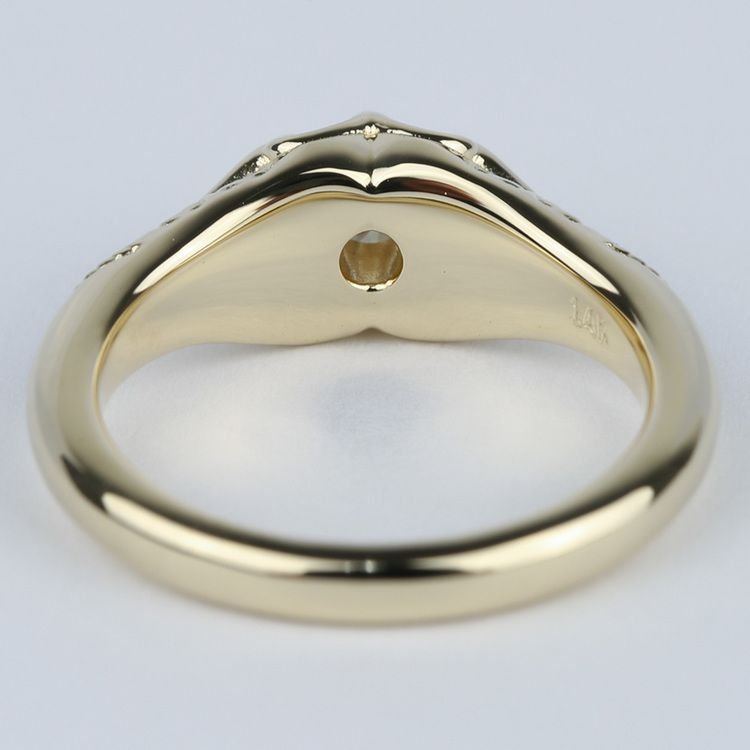 Custom Antique Diamond Engagement Ring in Yellow Gold (0.25 ct.) angle 4