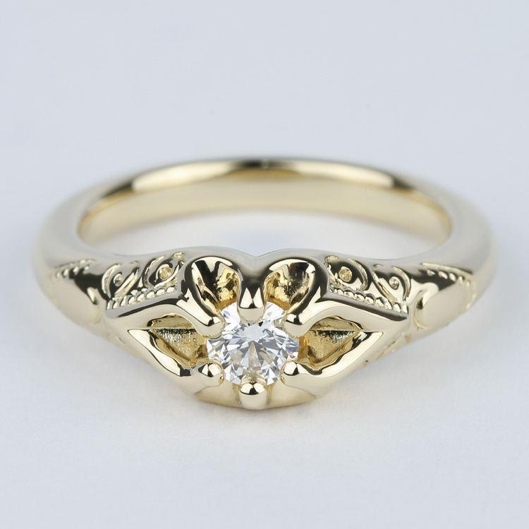 Custom Antique Diamond Engagement Ring in Yellow Gold (0.25 ct.)