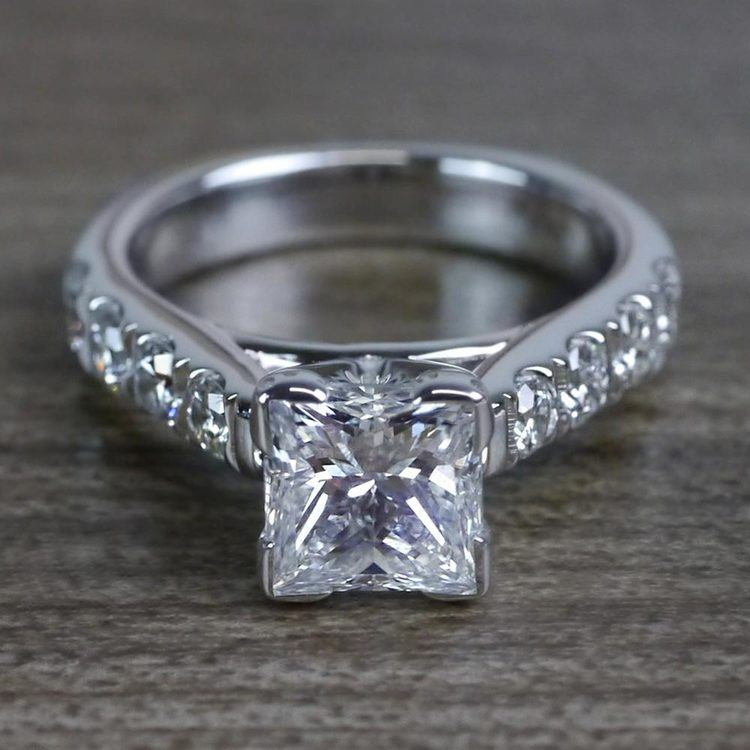 Custom Regal Princess Cut Diamond Solitaire Engagement Ring