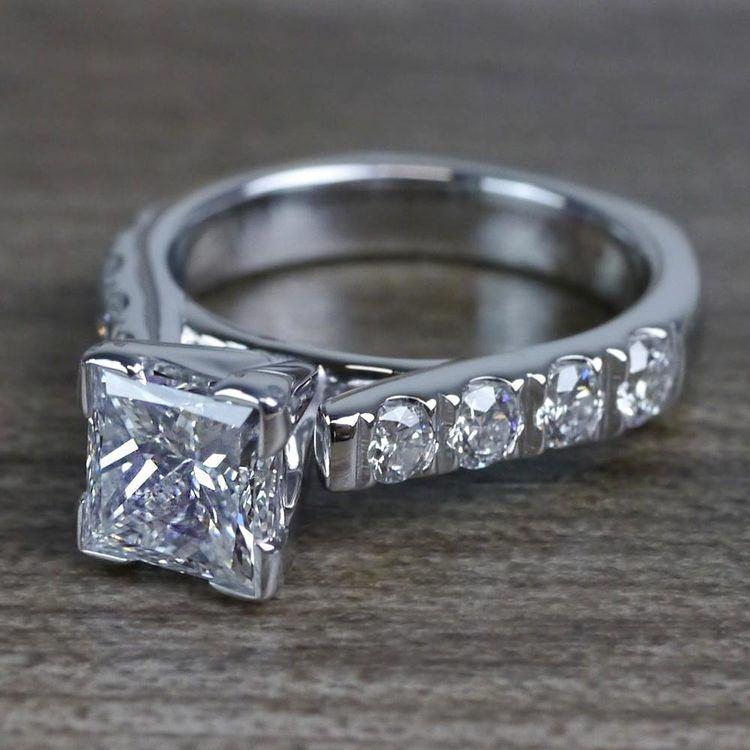 Custom Regal Princess Cut Diamond Solitaire Engagement Ring angle 2