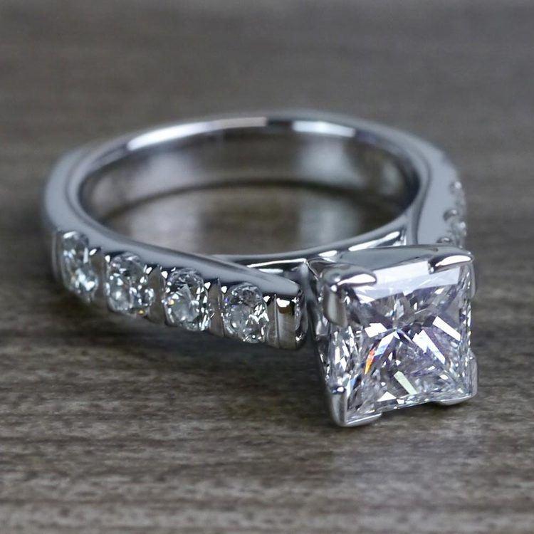 Custom Regal Princess Cut Diamond Solitaire Engagement Ring angle 3