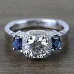 Custom Round Diamond & Sapphire Halo Ring (1 Carat) - small