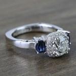 Custom Round Diamond & Sapphire Halo Ring (1 Carat) - small angle 3