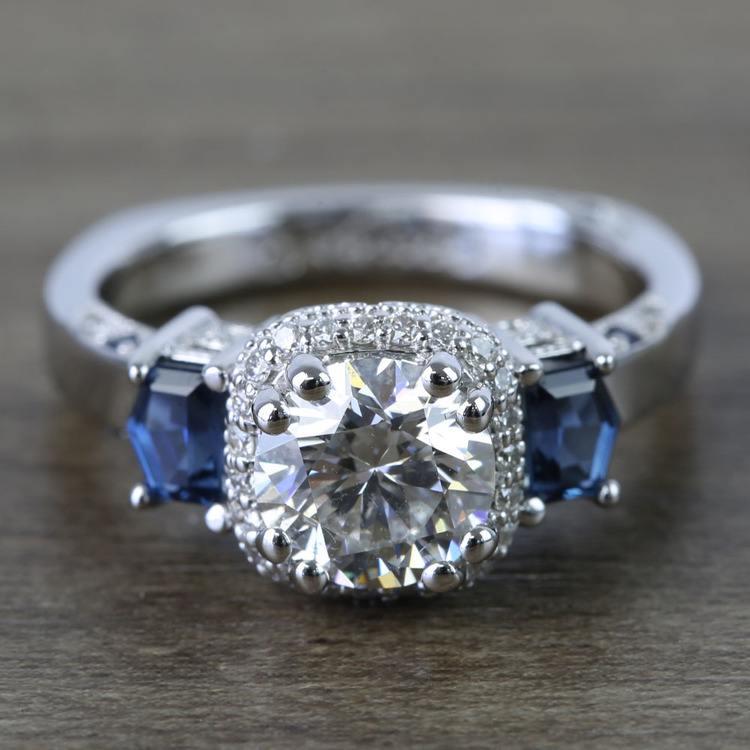 Custom Round Diamond & Sapphire Halo Ring (1 Carat)