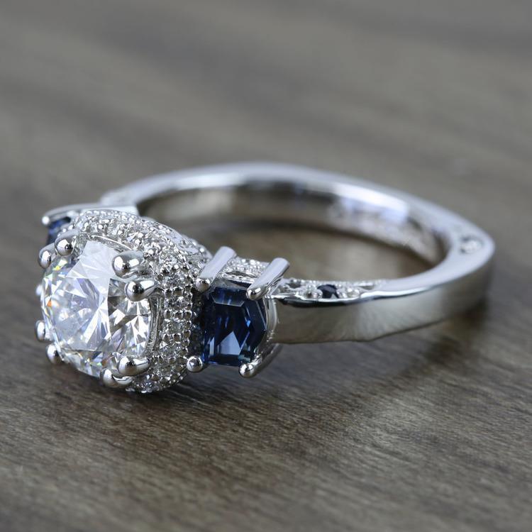 Custom Round Diamond & Sapphire Halo Ring (1 Carat) angle 2