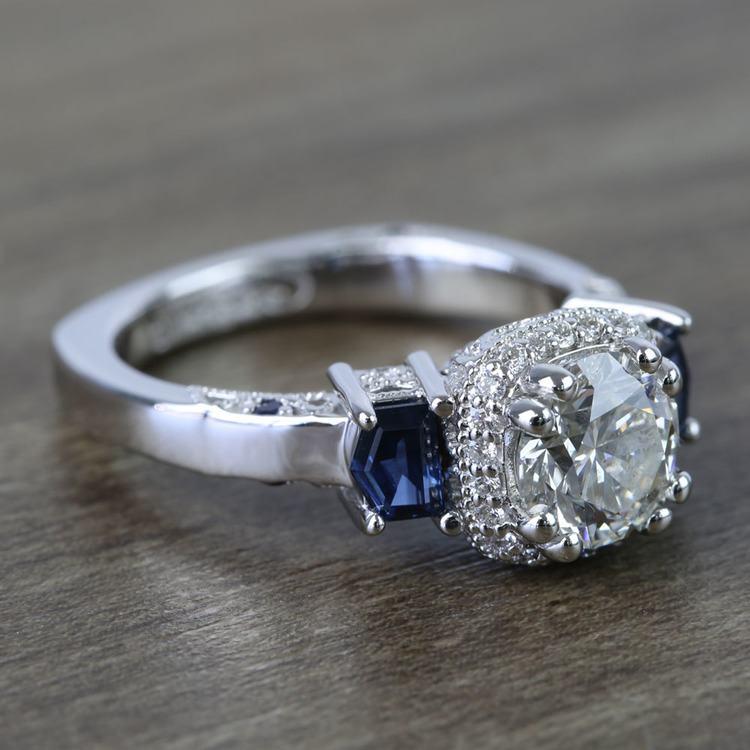 Custom Round Diamond & Sapphire Halo Ring (1 Carat) angle 3