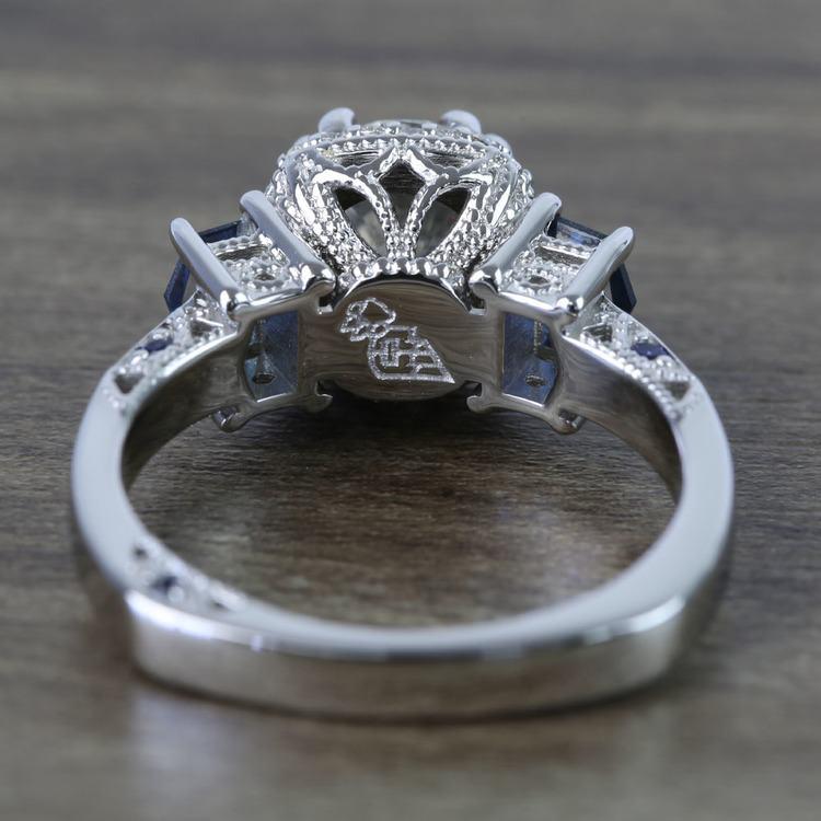 Custom Round Diamond & Sapphire Halo Ring (1 Carat) angle 4