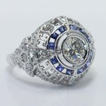 0.69 Carat Custom Diamond & Sapphire Ring - small angle 3