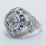 0.69 Carat Custom Diamond & Sapphire Ring - small angle 2