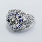 0.69 Carat Custom Diamond & Sapphire Ring - small angle 4