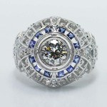 0.69 Carat Custom Diamond & Sapphire Ring - small