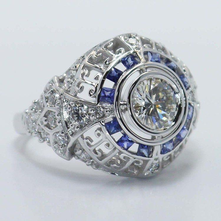 0.69 Carat Custom Diamond and Sapphire Ring angle 3