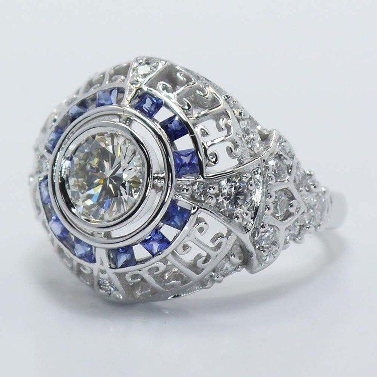 0.69 Carat Custom Diamond and Sapphire Ring angle 2