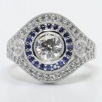 Custom 1 Carat Diamond & Sapphire Halo Engagement Ring - small