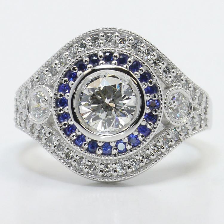 Custom 1 Carat Diamond & Sapphire Halo Engagement Ring