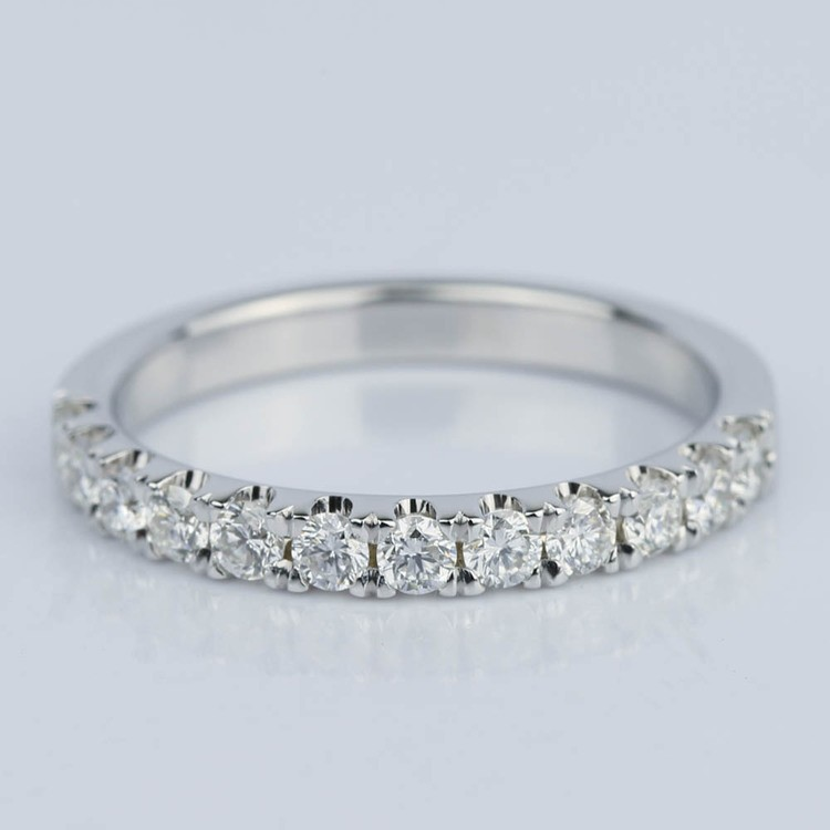 Custom Scallop Diamond Wedding Band in 18K White Gold