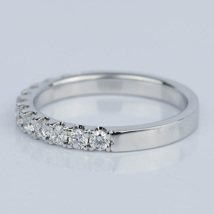 Custom Scallop Diamond Wedding Band in 18K White Gold angle 2