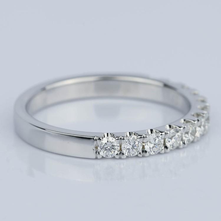 Custom Scallop Diamond Wedding Band in 18K White Gold angle 3
