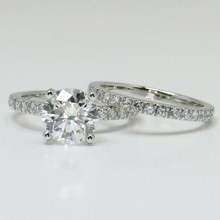 1.30 Carat Round Diamond Engagement Ring with Matching Band