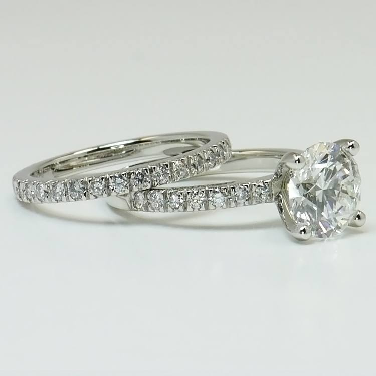 1.30 Carat Round Diamond Engagement Ring with Matching Band angle 2