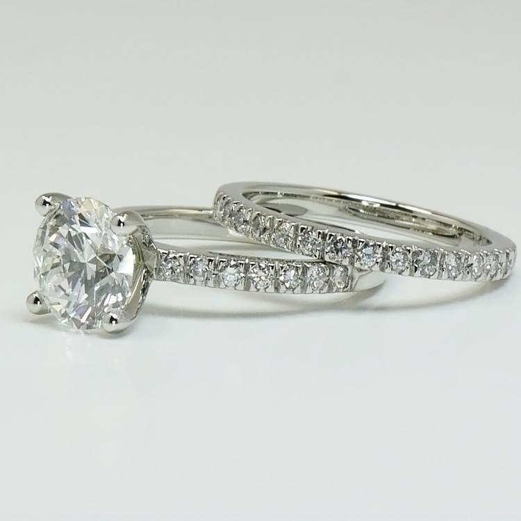 1.30 Carat Round Diamond Engagement Ring with Matching Band angle 3
