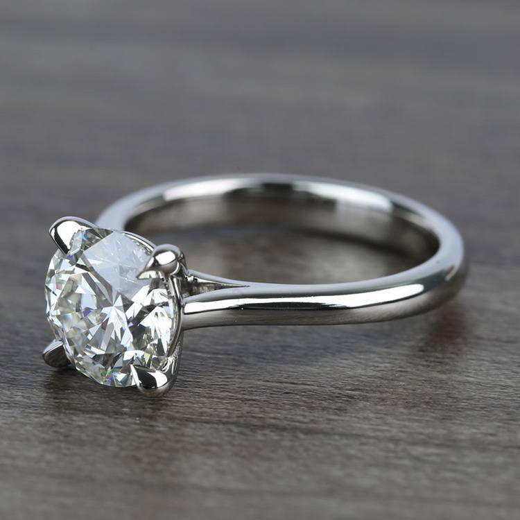 Custom Solitaire 1.75 Carat Round Diamond Engagement Ring angle 2