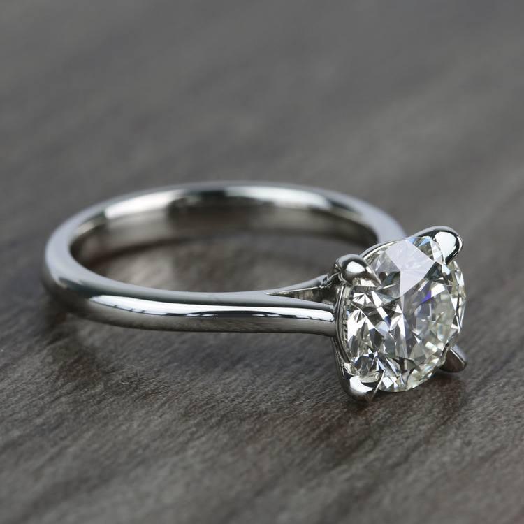 Custom Solitaire 1.75 Carat Round Diamond Engagement Ring angle 3