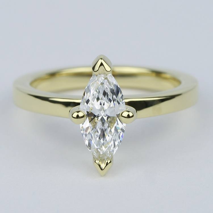 Low-Set Marquise Diamond Engagement Ring in Yellow Gold