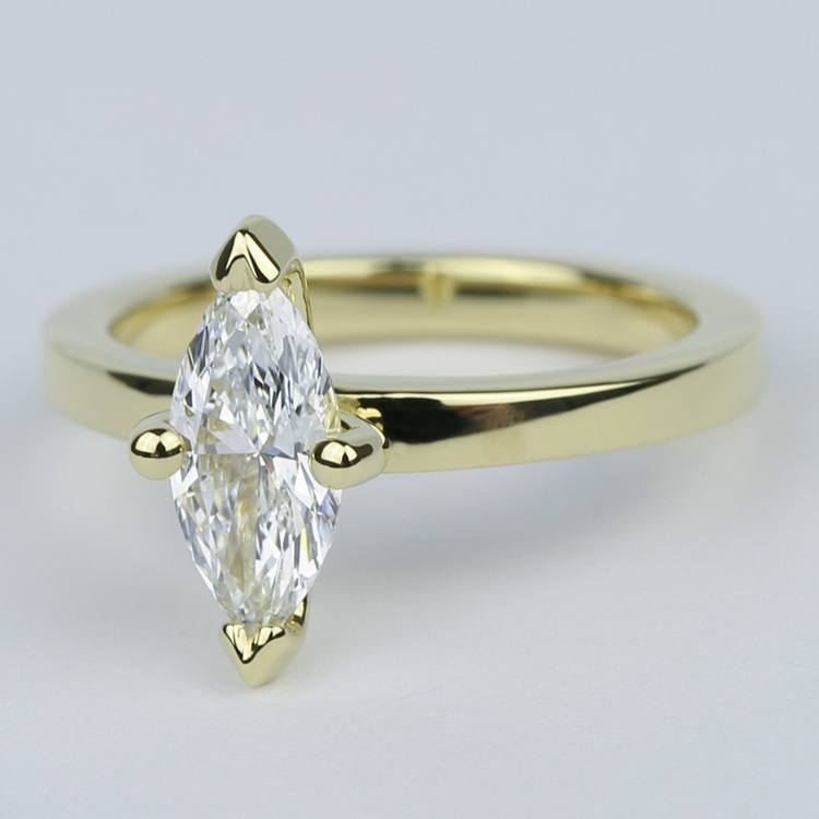 Low-Set Marquise Diamond Engagement Ring in Yellow Gold angle 2