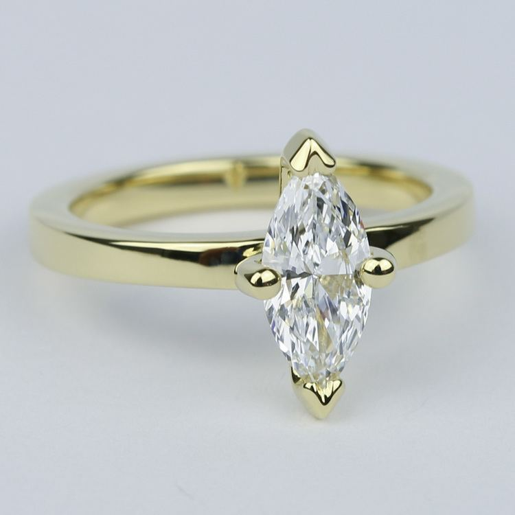 Low-Set Marquise Diamond Engagement Ring in Yellow Gold angle 3