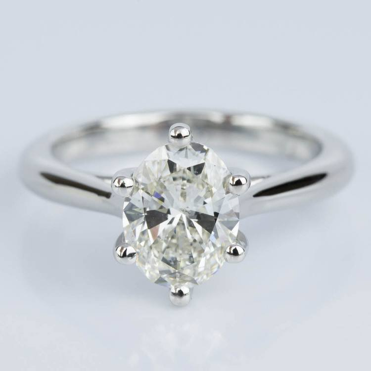 Custom Oval Diamond Solitaire Engagement Ring in Platinum (2.01 ct.)