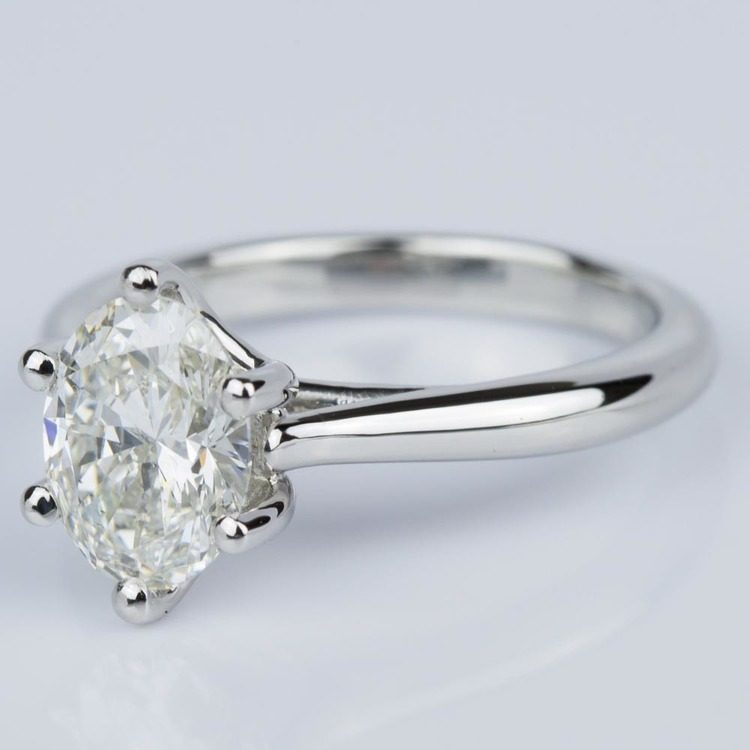 Custom Oval Diamond Solitaire Engagement Ring in Platinum (2.01 ct.) angle 2