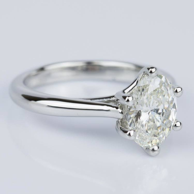 Custom Oval Diamond Solitaire Engagement Ring in Platinum (2.01 ct.) angle 3